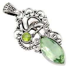 Clearance Sale- 10.22cts natural green amethyst peridot 925 silver flamingo charm pendant d43768