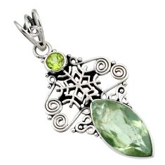 Clearance Sale- 10.24cts natural green amethyst peridot 925 silver snowflake pendant d43762