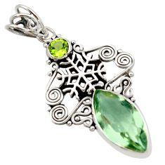 9.86cts natural green amethyst peridot 925 silver snowflake pendant d46714