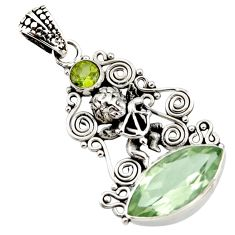 10.64cts natural green amethyst peridot 925 sterling silver angel pendant d43765
