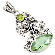 9.65cts natural green amethyst peridot 925 sterling silver angel pendant d43769