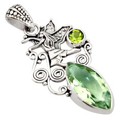9.10cts natural green amethyst peridot 925 sterling silver angel pendant d46646