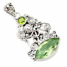 9.65cts natural green amethyst peridot 925 sterling silver angel pendant d46713