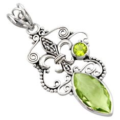 7.53cts natural green amethyst peridot 925 sterling silver pendant d46666