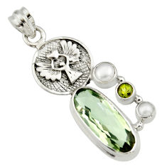 12.34cts natural green amethyst peridot pearl 925 sterling silver pendant r19118