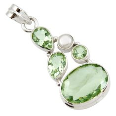16.73cts natural green amethyst white pearl 925 sterling silver pendant d42993