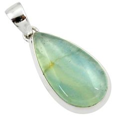 16.20cts natural green aquatine lemurian calcite 925 silver pendant r39942