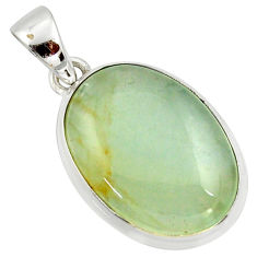15.08cts natural green aquatine lemurian calcite 925 silver pendant r39945