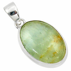 15.08cts natural green aquatine lemurian calcite 925 silver pendant r39949