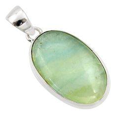 15.65cts natural green aquatine lemurian calcite 925 silver pendant r39952