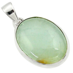 17.65cts natural green aquatine lemurian calcite 925 silver pendant r39955