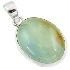 15.67cts natural green aquatine lemurian calcite 925 silver pendant r39956
