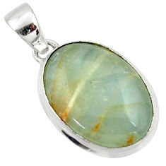 15.65cts natural green aquatine lemurian calcite 925 silver pendant r39959