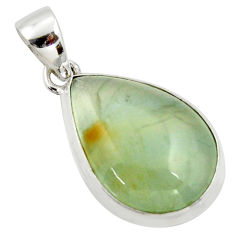15.05cts natural green aquatine lemurian calcite pear 925 silver pendant r39941