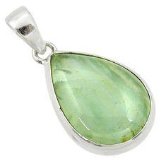 15.08cts natural green aquatine lemurian calcite pear 925 silver pendant r39948