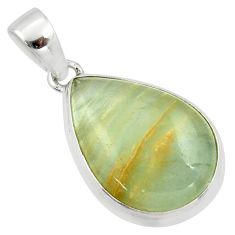 16.18cts natural green aquatine lemurian calcite pear 925 silver pendant r39953