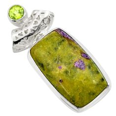 17.57cts natural green atlantisite stichtite-serpentine silver pendant d42086