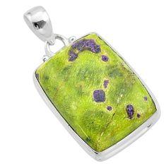 18.70cts natural green atlantisite stichtite-serpentine silver pendant t42338