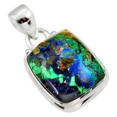 13.70cts natural green azurite malachite 925 sterling silver pendant r33843