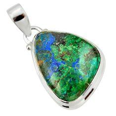 17.22cts natural green azurite malachite 925 sterling silver pendant r33864