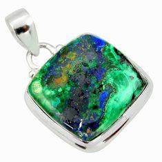 18.70cts natural green azurite malachite 925 sterling silver pendant r33867