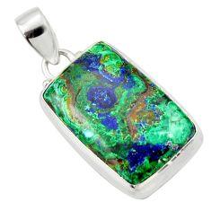 22.05cts natural green azurite malachite 925 sterling silver pendant r33868