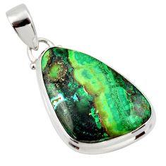 18.15cts natural green azurite malachite 925 sterling silver pendant r33872