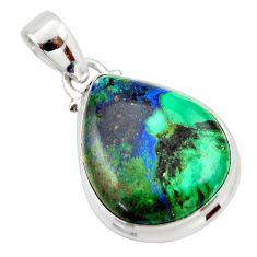 17.65cts natural green azurite malachite 925 sterling silver pendant r33875