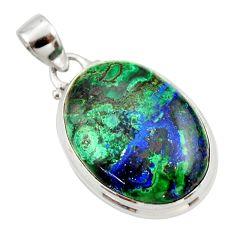 19.23cts natural green azurite malachite 925 sterling silver pendant r33877