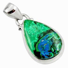 12.58cts natural green azurite malachite 925 sterling silver pendant r36242