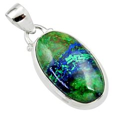 15.08cts natural green azurite malachite 925 sterling silver pendant r36249