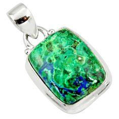 14.72cts natural green azurite malachite 925 sterling silver pendant r36252