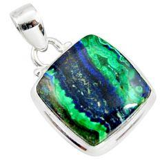 16.20cts natural green azurite malachite 925 sterling silver pendant r36256