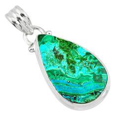 10.65cts natural green azurite malachite 925 sterling silver pendant r83331