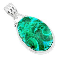 13.70cts natural green azurite malachite 925 sterling silver pendant r83335