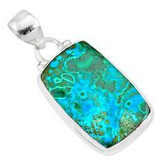 13.15cts natural green azurite malachite 925 sterling silver pendant r83337