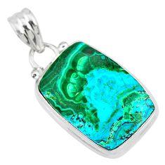 13.15cts natural green azurite malachite 925 sterling silver pendant r83342