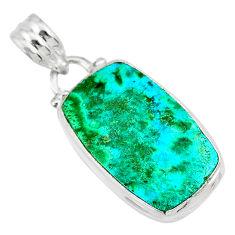 11.17cts natural green azurite malachite 925 sterling silver pendant r83343