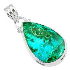 12.22cts natural green azurite malachite 925 sterling silver pendant r83345