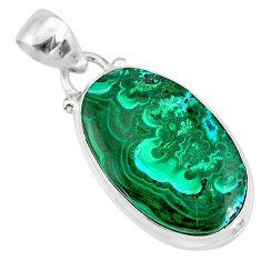 14.72cts natural green azurite malachite 925 sterling silver pendant r83347