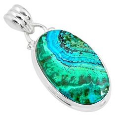 11.73cts natural green azurite malachite 925 sterling silver pendant r83354