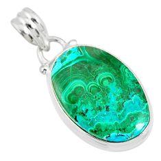 13.70cts natural green azurite malachite 925 sterling silver pendant r83357