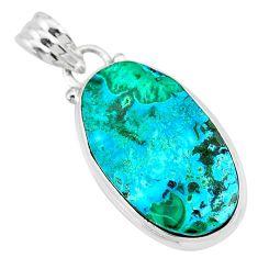12.58cts natural green azurite malachite 925 sterling silver pendant r83358