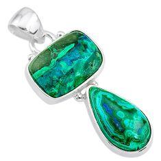 9.18cts natural green azurite malachite 925 sterling silver pendant t21441