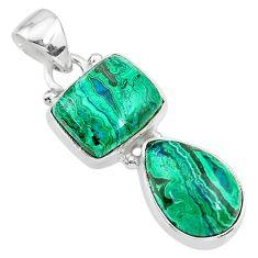 9.90cts natural green azurite malachite 925 sterling silver pendant t21442