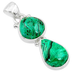 9.39cts natural green azurite malachite 925 sterling silver pendant t21445