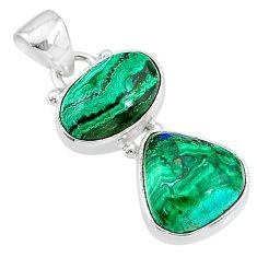 9.59cts natural green azurite malachite 925 sterling silver pendant t21447
