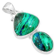 10.78cts natural green azurite malachite 925 sterling silver pendant t21448