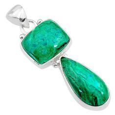 11.66cts natural green azurite malachite 925 sterling silver pendant t21450