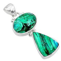 10.02cts natural green azurite malachite 925 sterling silver pendant t21451